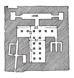 Plan of the sphinx temple is a statue with the vector