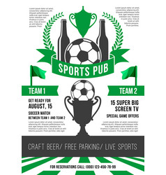 Poster for soccer sports pub vector