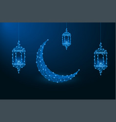 ramadan kareem in low poly vector image