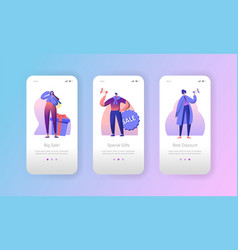 Sale advertising marketing character mobile app vector