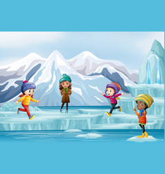 scene with people playing on ice vector image