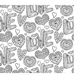 Seamless festive texture with doodle hearts and vector