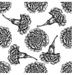 seamless pattern with black and white carnation vector image