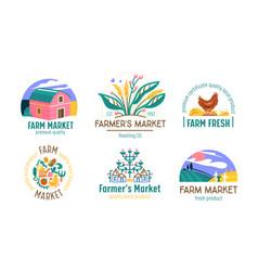 set farm or farmer market logo ecological natural vector image