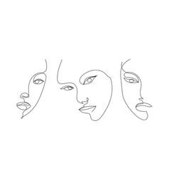 Set hand drawn linear art woman faces vector