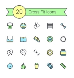 Set of crossfit gym equipment color line icons of vector