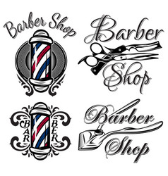 set retro barber shop logo isolated on the vector image