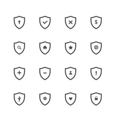 set shield protect icon vector image