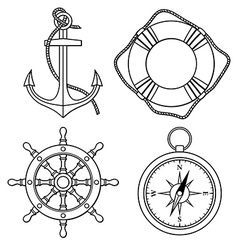 set with isolated anchor lifebuoy ships vector image