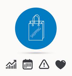 Shopping bag icon sale handbag sign vector