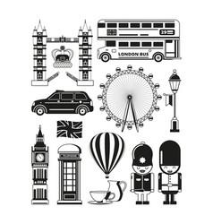 silhouette london landmarks vector image
