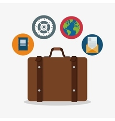 Suitcase to travel and icon set design vector