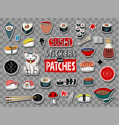 sushi stickers collection vector image