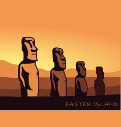 The landscape of easter island with the famous vector