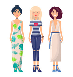 three casual girls in different summer clothing vector image