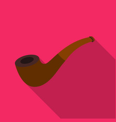 Tobacco pipe icon in flat style isolated on white vector