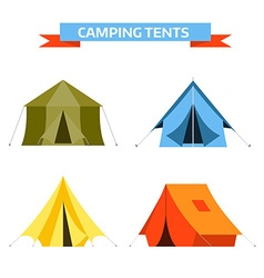 Tourist Tents Icons vector