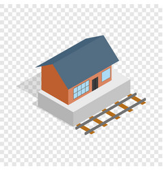train station building isometric icon vector image