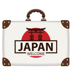 travel bag with japanese flag and torii gate vector image