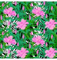 Tropical pattern with jungle flowers vector