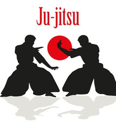 Two men are engaged in Ju jitsu fight vector