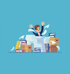 unorganized office work accounting paper vector image