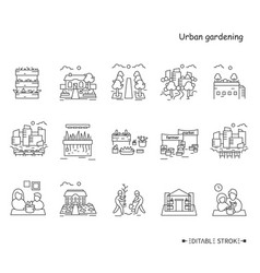 Urban gardening line icons set editable vector