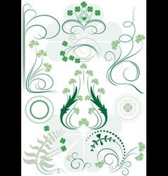 Variants brush patterns of leaves clovers vector image