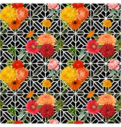 Vintage Colorful Floral Geometry Background vector