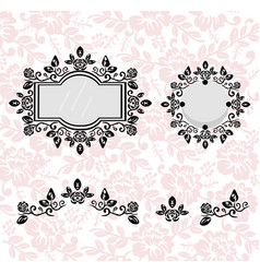 vintage frames set collection of round and vector image