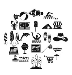 Water journey icons set simple style vector
