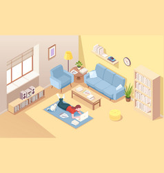 woman lying on floor doing remote work at laptop vector image