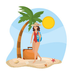 women wearing swimsuit with hat and purse with vector image