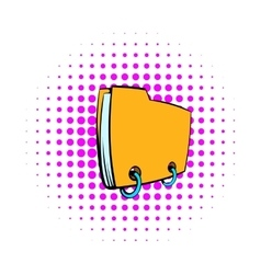 Yellow file folder icon comics style vector