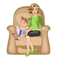 young mother reading book to her daughter vector image