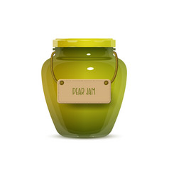 Glass jam jar on white background vector