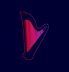 musical instrument harp sign line icon vector image vector image