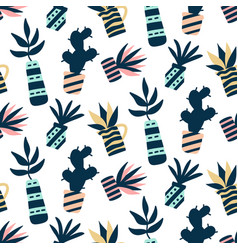succulents plants colorful seamless pattern vector image