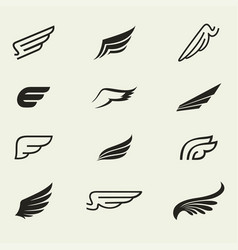 wings icons set 1 vector image