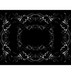Abstract white floral ornament on dark background vector image