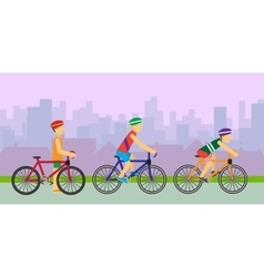 Bikers on Bicycles in Flat Design vector image vector image