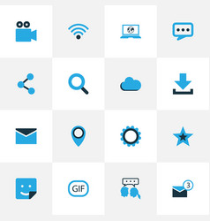 internet colorful icons set collection of sticker vector image