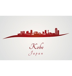 Kobe skyline in red vector image vector image