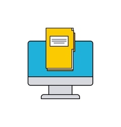 monitor computer with social media icon vector image