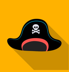 pirate hat with skull icon in flat style isolated vector image vector image