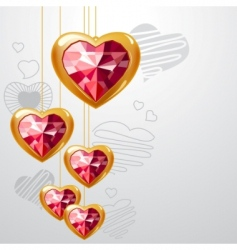 ruby gold hearts vector image vector image