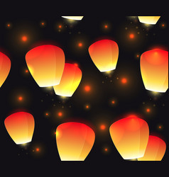 seamless festive texture sky lanterns and sparks vector image vector image