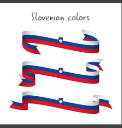 set of three ribbons with the slovenian tricolor vector image vector image