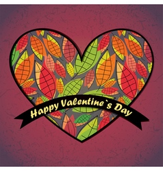 valentine day card with leaves and heart vector image vector image