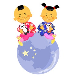 vector Chinese boy and girl vector image vector image